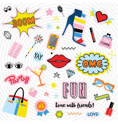Fashionable quirky colorful label and stickers set vector