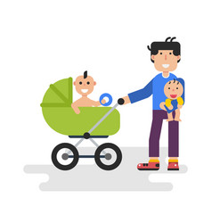 Father with two kids vector