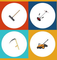 Flat icon dacha set of harrow grass-cutter lawn vector