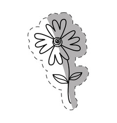 Flower flora wild icon monochrome vector