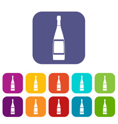 Glass bottle icons set flat vector