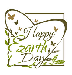 Happy earth day green and gold typographic design vector