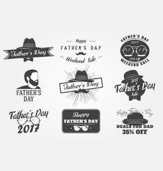 happy fathers day greeting a set of nine black vector image vector image