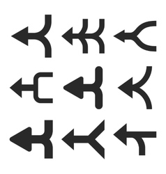 Merge arrows left flat icon set vector