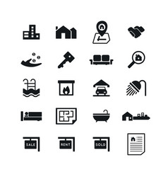 real estate icons on white background vector image vector image