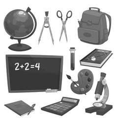 school supplies and education objects vector image