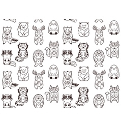 Seamless pattern with funny animals in cartoon vector