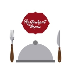 server tray and cutlery restaurant menu vector image vector image