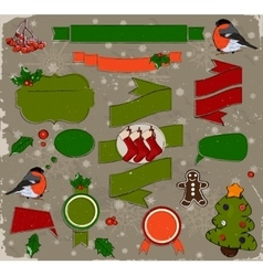 Set of christmas elements in red and green vector