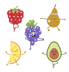 Set of funny characters from fruits engaged in vector