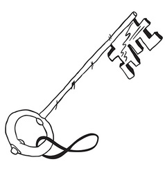 simple black and white key vector image