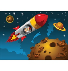 Space scene with rocket and alien vector image vector image