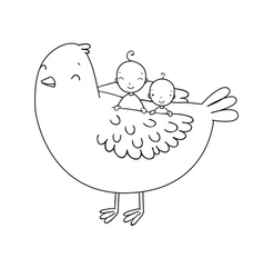 Two cute baby and a bird vector image vector image