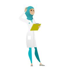 Young muslim doctor scratching her head vector