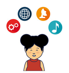 young woman avatar character with social media vector image