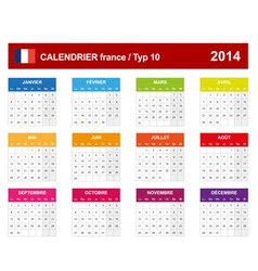 Calendar 2014 french type 10 vector