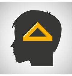 silhouette head boy student geometry vector image