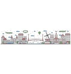 Travel in Amsterdam city line flat design banner vector image
