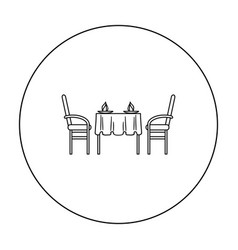 restaurant table icon in outline style isolated on vector image