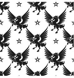 black unicorn and stars seamless pattern vector image