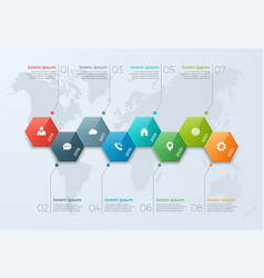 Timeline chart infographic template with 8 options vector