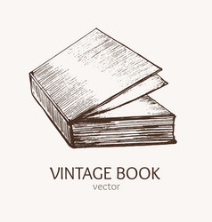 vintage book hand draw sketch card vector image