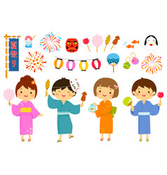 japanese summer festival set vector image