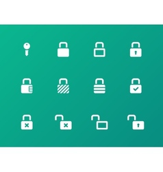 Locks icons on green background vector