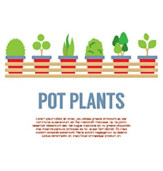 Pot plants in long wooden pot vector