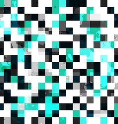 Blue square seamless pattern with blob effect vector