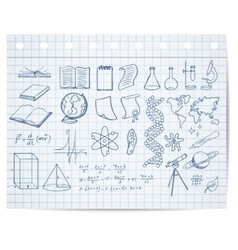 Science and education symbols on copybook page vector