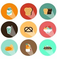 Fruit and beverage icons shadow vector