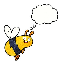 Funny cartoon bee with thought bubble vector
