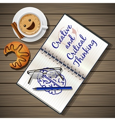 Notebook and coffee cup with croissant vector