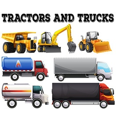 Different kind of tractors and trucks vector