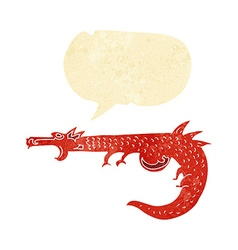 Cartoon medieval dragon with speech bubble vector