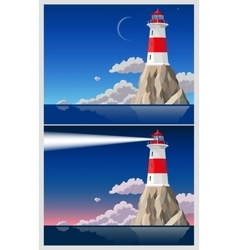 Lighthouse on the rock vector image