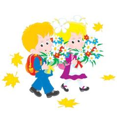 Schoolboy and schoolgirl first-graders vector image