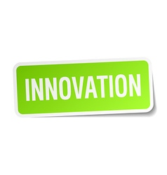 Innovation green square sticker on white vector