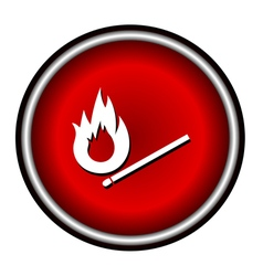 Burning match icon on white background vector