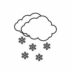Cloud and snowflakes icon outline style vector