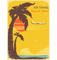 Airplane and tropical paradise old retro poster vector