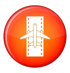 Airplane on the runway icon flat style vector image