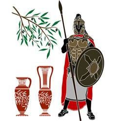 Ancient hellenic warrior and jugs vector