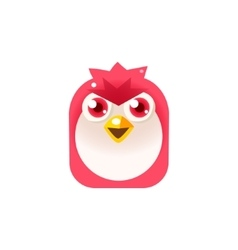 Angry pink chick square icon vector