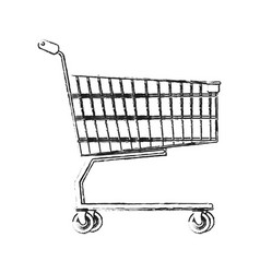 Blurred silhouette cartoon shopping cart of vector