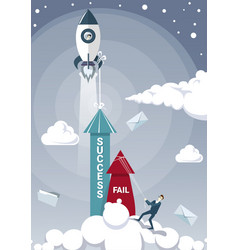business man hold fail with rope while sucess vector image vector image