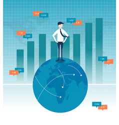 businessman with business growth flat design vector image