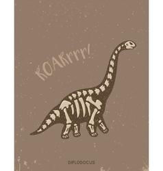 Cartoon diplodocus dinosaur fossil vector
