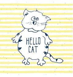 cat sketch handdrawn doodle print design vector image